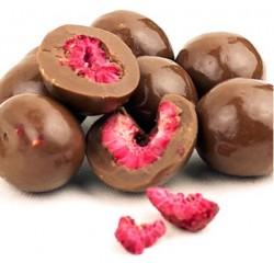 Frambuesa entera cubierta con chocolate negro (120g)
