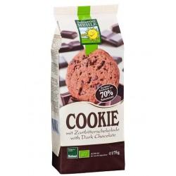 """Galletas crujientes """"Cookies"""" de chocolate negro sin lactosa (175g)"""